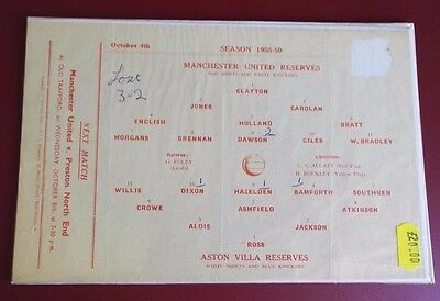 1958-59 MANCHESTER UNITED Reserves vs A. VILLA  No token, good condition for age