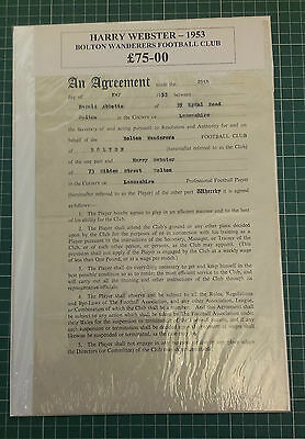 1953 Bolton Wanderers - A Players Original Contract - Harry Webster - Original