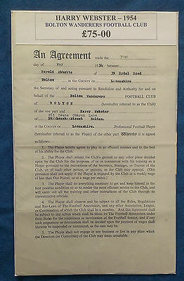 1954 Harry Webster Professional Football Contract - Bolton Wanderers Very Rare