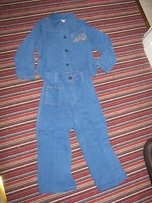 VINTAGE 70S BOYS JEANS AND SHIRT MOTHERCARE 100CMS stage prop