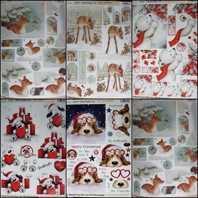 3D A4 Die Cut Paper Tole Decoupage Christmas Puppy Love Bear Deer NoCutting