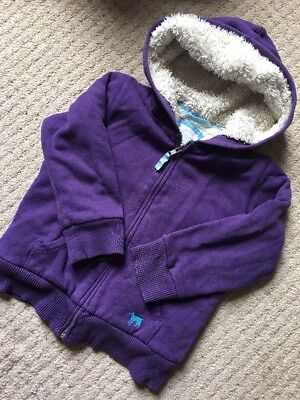 Mini Boden Purple shaggy Zip Up hoodie 4-5y