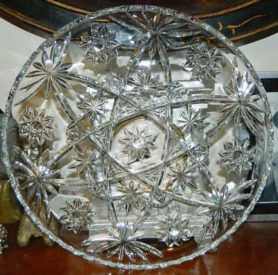VINTAGE 1950s Anchor Hocking Star of David Scalloped Pressed Glass Platter Tray