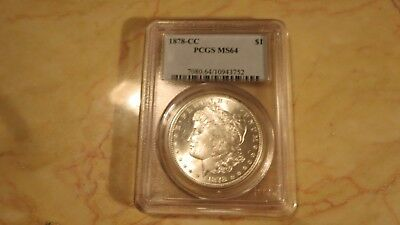 Pcgs 1878-Cc Morgan Silver Dollar Ms 64 Nice & White