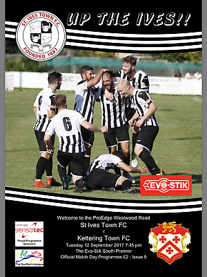 St Ives Town v Kettering Town - Football programme - Southern League - 2017/18