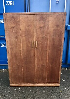 C20th Antique Heals Of London Art Deco Solid Oak Double Compactum Wardrobe