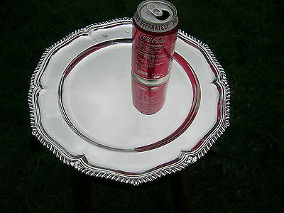 """English Hallmarked Solid Silver 12 1/2"""" Serving Plate / Tray 1924 Elkington"""