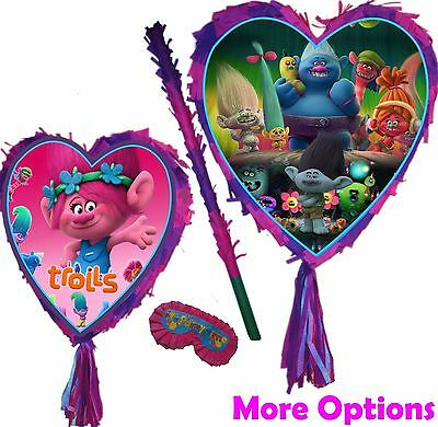 Trolls Love Heart Pinata set Poppy Branch Smash Party Fun Stick Pink birthday UK