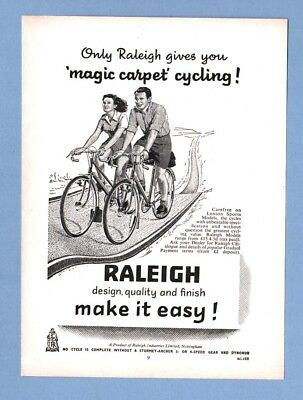 """The  RALEIGH """"LENTON SPORTS"""" BICYCLES   (1954 Advertisement)"""