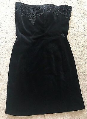 Ladies Laura Ashley Dress Size 12 Velvet Embroidered Trim Black Strapless  B15