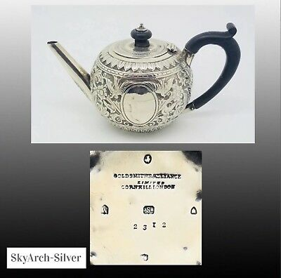 SOLID SILVER Teapot ART NOUVEAU Hallmarked London 1887 GOLDSMITHS ALLIANCE