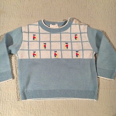 Vintage Sweater 12m A Little Angel Blue Toy Soldier Like Prince George! Winter