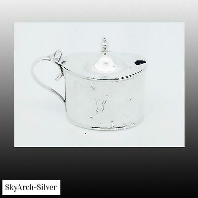 SOLID SILVER Mustard Pot HALLMARKED LONDON 1910 R W Sorely WITH LINER
