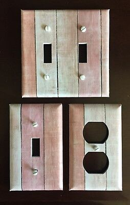 Pink Light Switch Cover Plate Planks Wood Looking Country Decor Vintage Aged