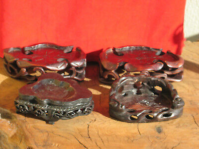 A1719  Lot of 4 Vintage or Antique Chinese Hand Carved Wood Stands