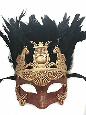 New Red & Silver Roman Egyptian Greek Ancient Hercules Feather Mask (RED/GOLD)