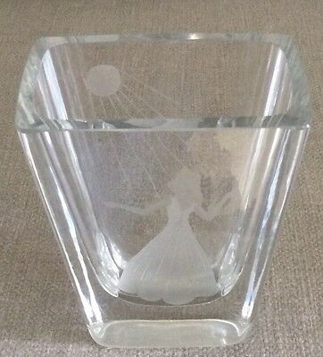 Rare Orrefors Engraved Lady Sun/Moon Rays Vase, Excellent Art Deco  5 3/8""