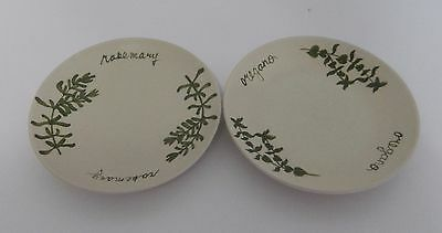 Hand Painted Design Pac Herb Motif Butter Pats Small Dessert Dishes 5 inch