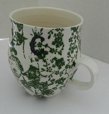 Anthropologie Classic Homegrown Monogram Mug Green with Initial C Coffee Cup
