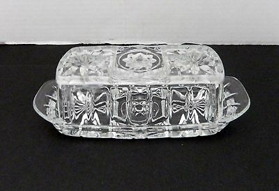 Early American Prescut Anchor Hocking Star of David Lidded Butter Dish EAPC