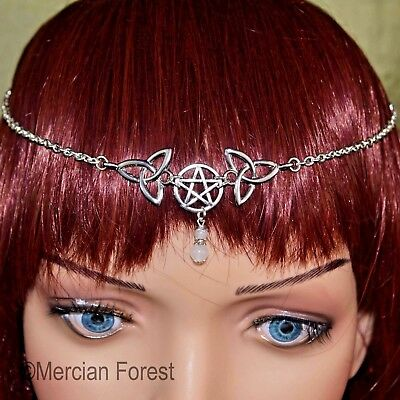 Pentacle Triquetra Headdress - Pagan Jewellery, Head Chain, Wicca, Witch, Ritual