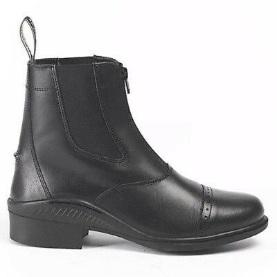 New Brogini Tivoli Leather Zip Jodhpur Paddock Riding Boots Black/brown All Size