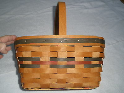Collectible Longaberger 1991 Handled Basket With Green & Red Design  Retired