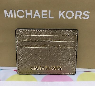 NEW AUTHENTIC MICHAEL KORS Jet Set Leather Card/ID Case Holder in Pale Gold  $68