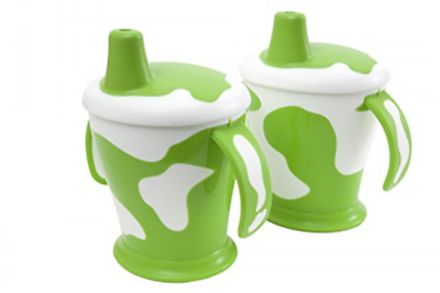 Anywayup Cow Cup (250 ml, Pack of 2, Green/ White)