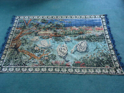 "Vintage 1970s Large wall tapestry Swans on country lake 80""x48"""