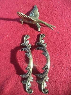 Lot  2 Poignees En Bronze Rocaille Tiroir Porte Oiseau Bronze Decoration Meuble