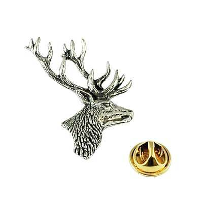 Stags Head English Pewter Lapel Pin Badge
