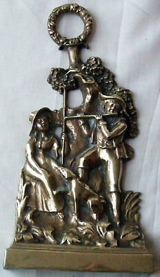 Antique Style Vintage Brass Shepherdess Sheepdog Minstrel Door Porter Doorstop