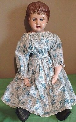 "Antique Minerva Type Doll, 22""  w/Glass Inset Blue Eyes circa 1900"