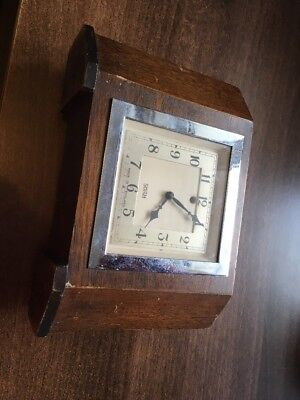 Vintage Mantle Clock. Art Deco Oak Smith SEC . Electric Clock C-1930s. Untested.
