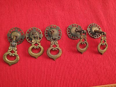 Set Of 4 / 5 Antique Brass Victorian Gothic Dangle Scroll Drawer Pulls Knobs
