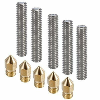 3D Printer Extruders 5pcs 30MM Length 1.75mm Tube And 0.4mm Brass Nozzle Heads