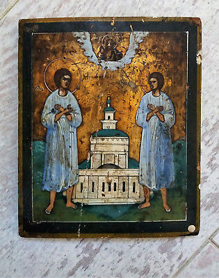 ANTIQUE Russian ORTHODOX Icon WOOD Hand Painting 19 c JOHN and JACOB of NOVGOROD