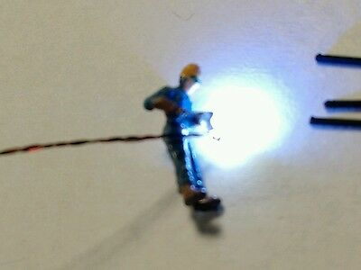 Welder N Scale Lit w/blue/white 0402 LED and simulator. Animated! Extras! Sale!
