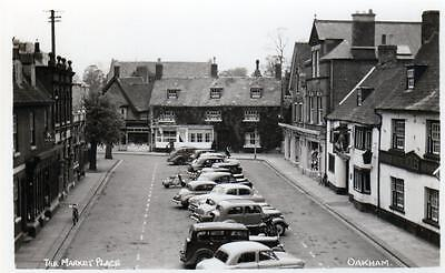 Market Place Oakham unused RP old postcard by Illsley