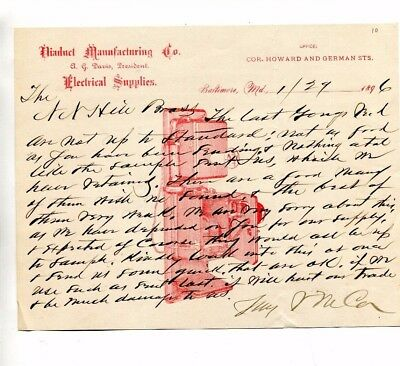 Vintage Illustrated Letterhead DIADUCT MFG Electric Supplies 1896 Baltimore MD