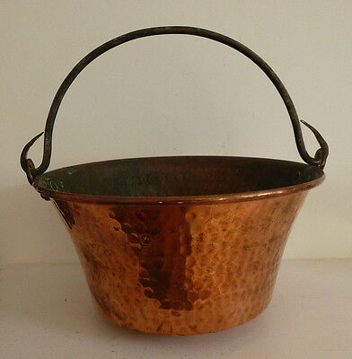 Lovely French antique copper pail pan with iron handle plant pot holder vintage