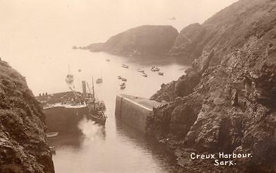 Creux Harbour Sark Channel Islands unused RP old pc Norman Grut