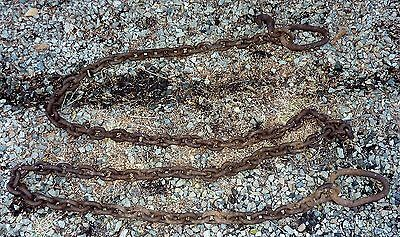 """20ft WINCHING RIGGING LOGGING TOW CHAIN 3"""" links  hook, 2 loops  FARM  STEAMPUNK"""
