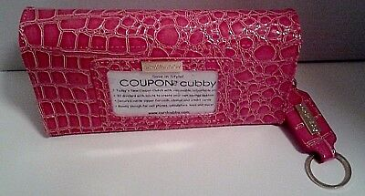 Coupon Organizer Card Cubby Removable Shoulder Strap with Key Fob, Fuchsia Pink