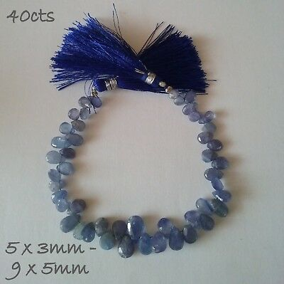Tanzanite 40cts Faceted Pears 16cm Bead Strand 5 x 3 - 9 x 5mm
