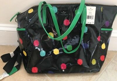 NWT Kate Spade Adair Baby Daycation Tote Bag Black Dot Green *No Change Pad
