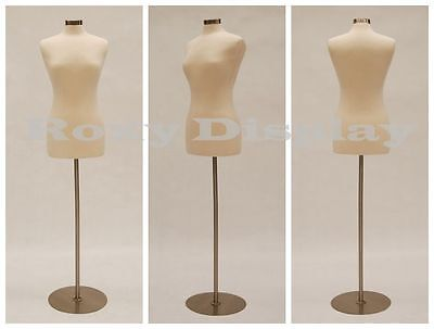 Female Mannequin Dress Form+Round Metal Base Size 6-8 #JF-FWP-W + BS-04