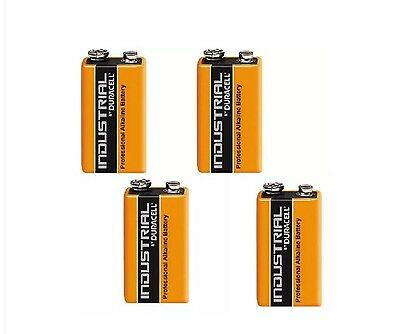 4 Duracell 9V PP3 Industrial Pro cell Batteries Smoke Alarm LR22 E-BLOC MN1604
