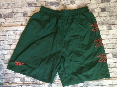 VTG 90s REEBOK SpellOut Logo Nylon Shorts Swim Trunks Baggies HIPHOP Medium